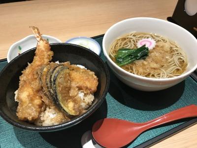 おそば古道(増田屋) 天丼+たぬきそば+小鉢