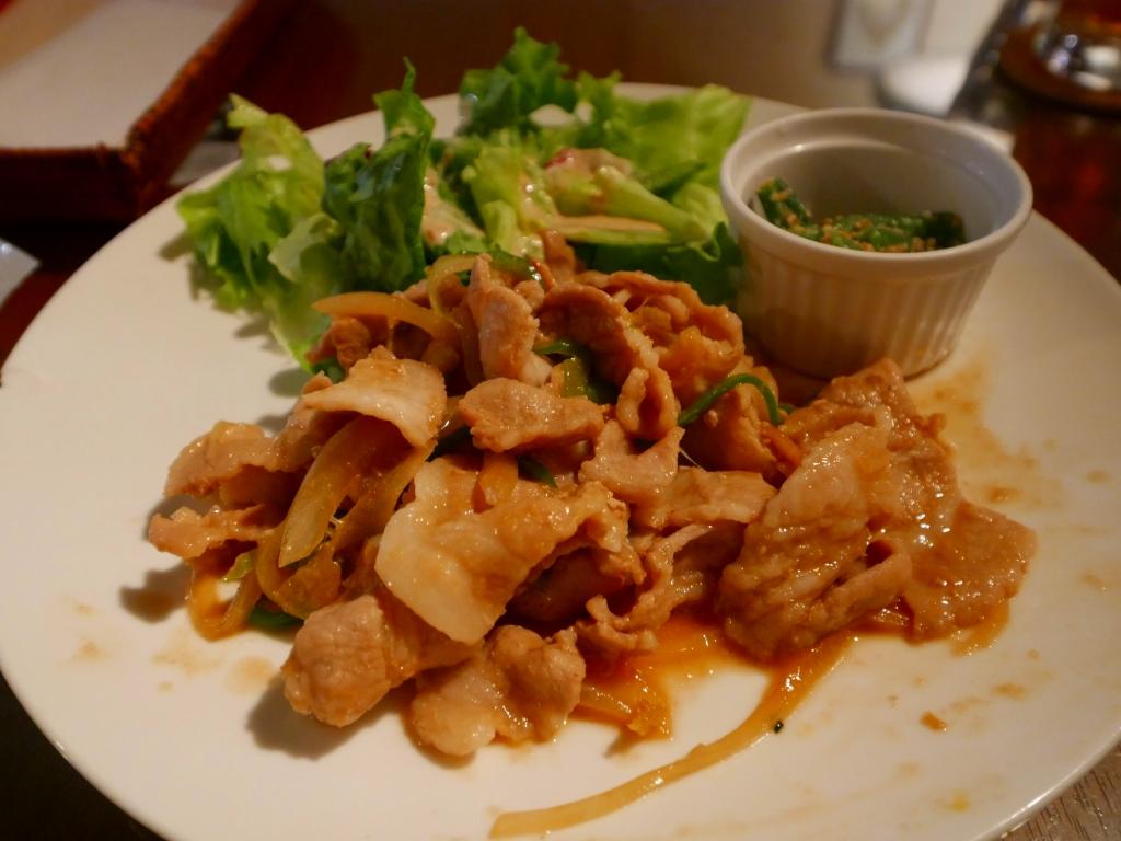 豚バラ肉の生姜焼きランチ